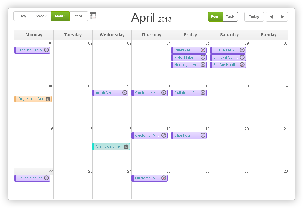 Monthly Task management