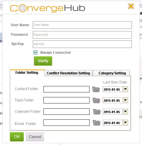 ConvergeHub Pop-up for Credentials