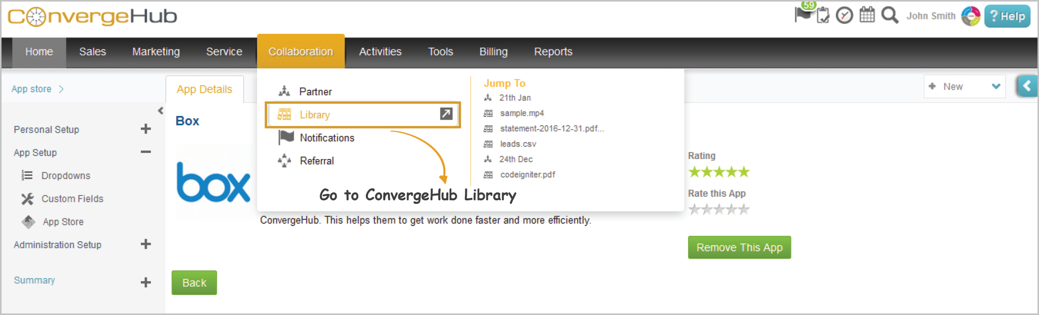 Go to ConvergeHub Library under Collaboration module