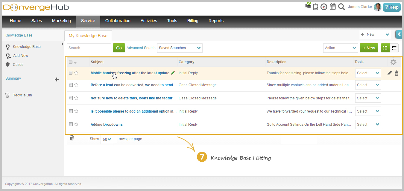 Knowledge Base Listing Page to perform Add, Edit and Delete functions