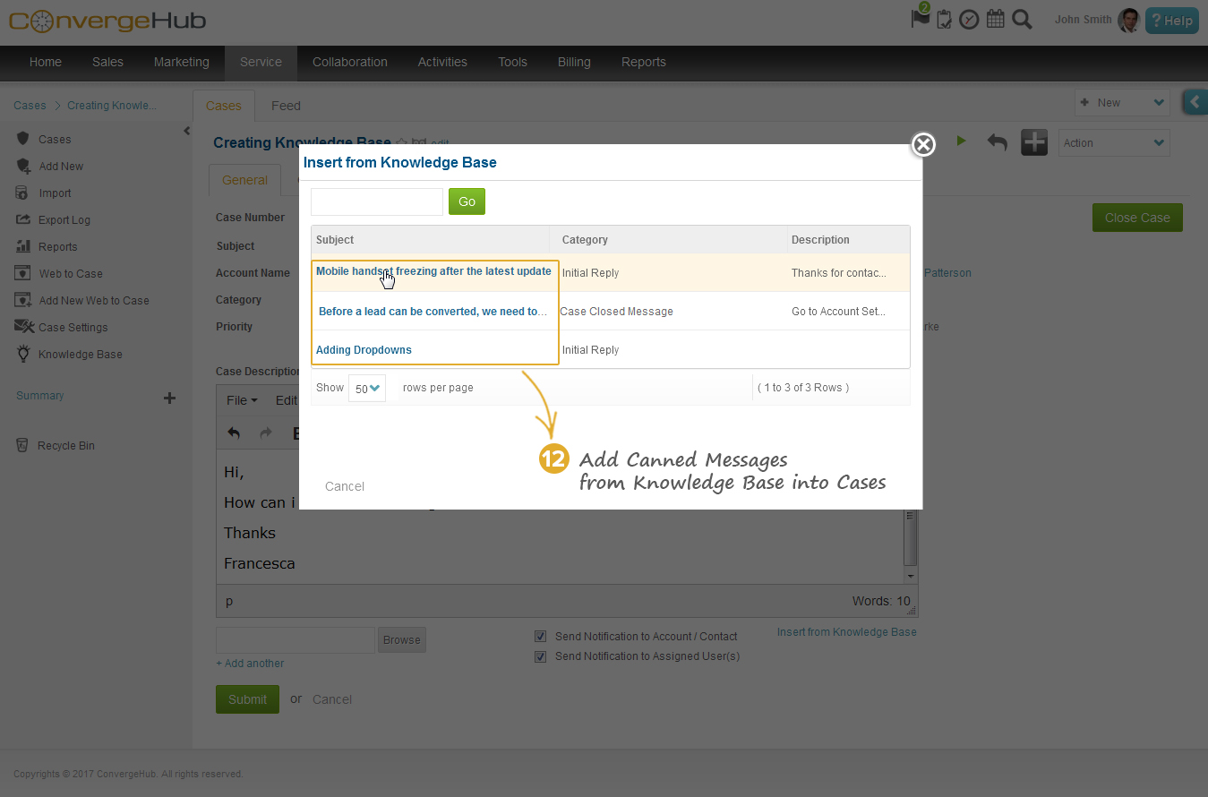 Attach the canned message from the Knowledge Base pop-up