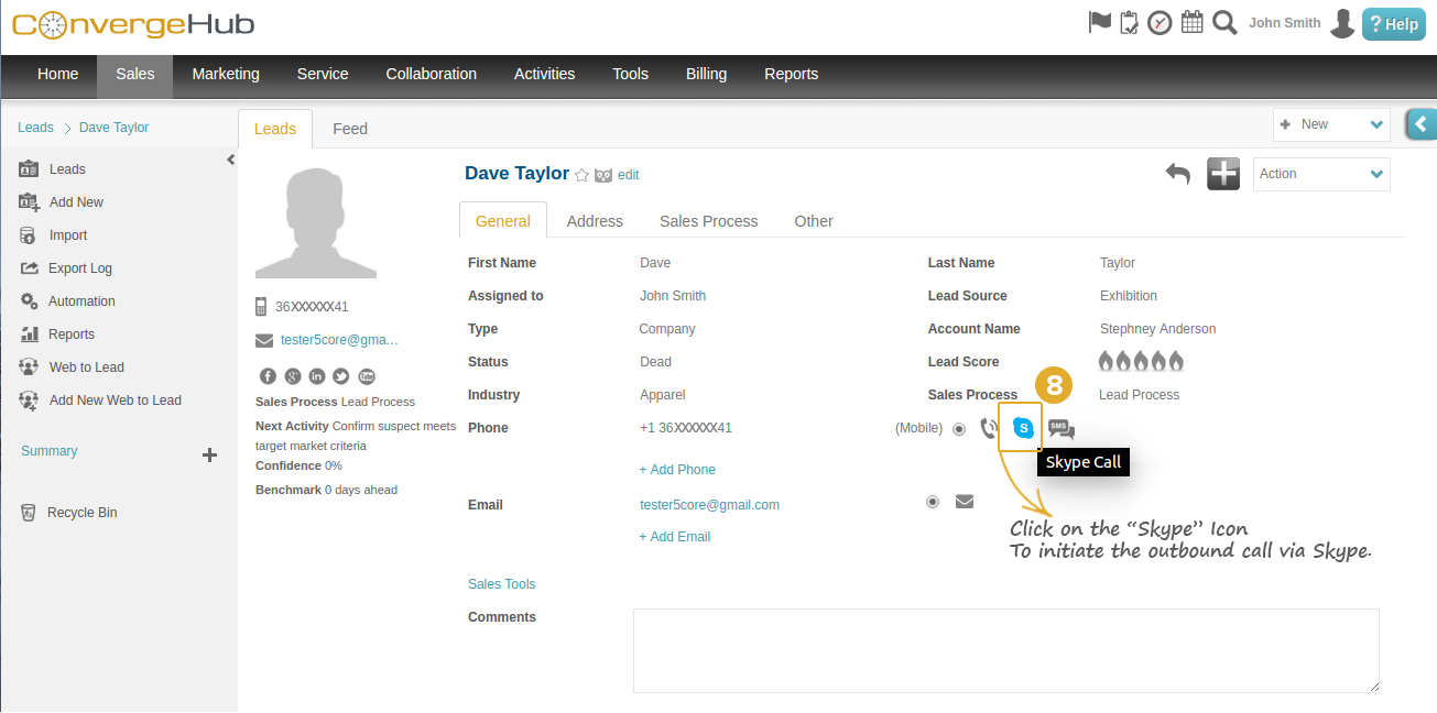 Skype Integration with ConvergeHub CRM Step 8