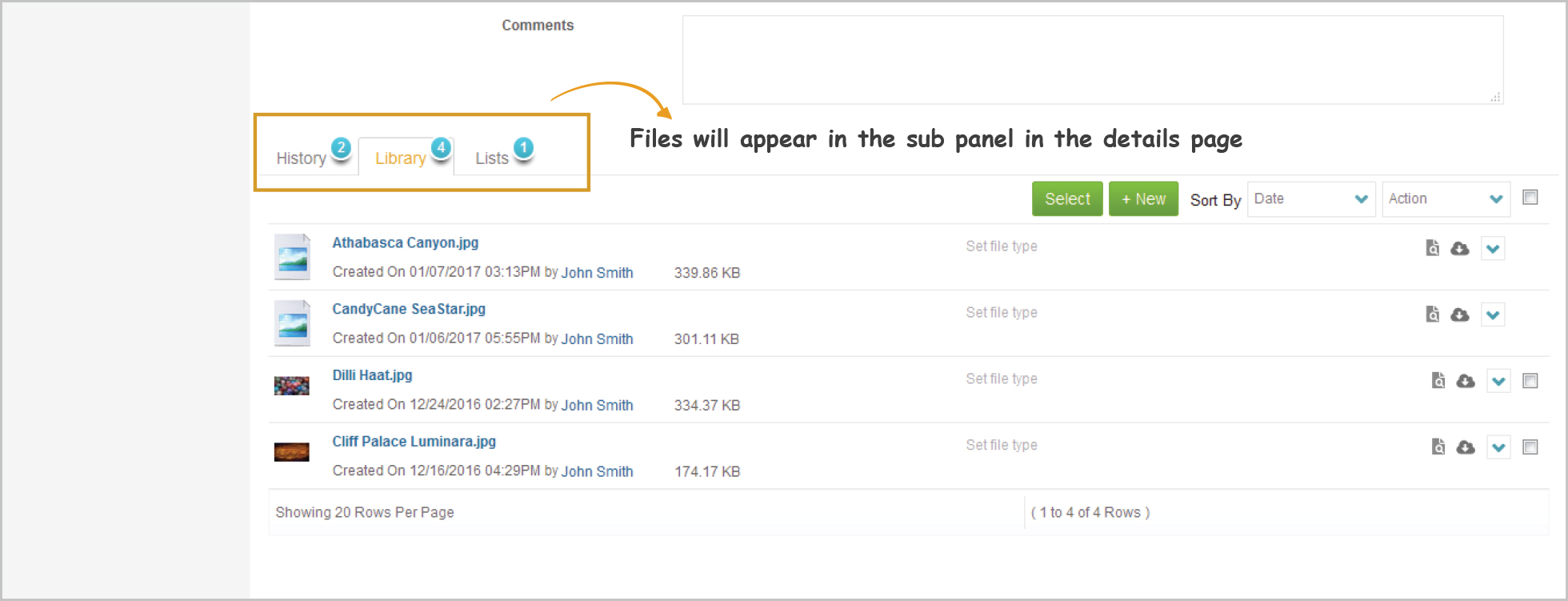 The attached BOX files will appear in the sub panel in the details page