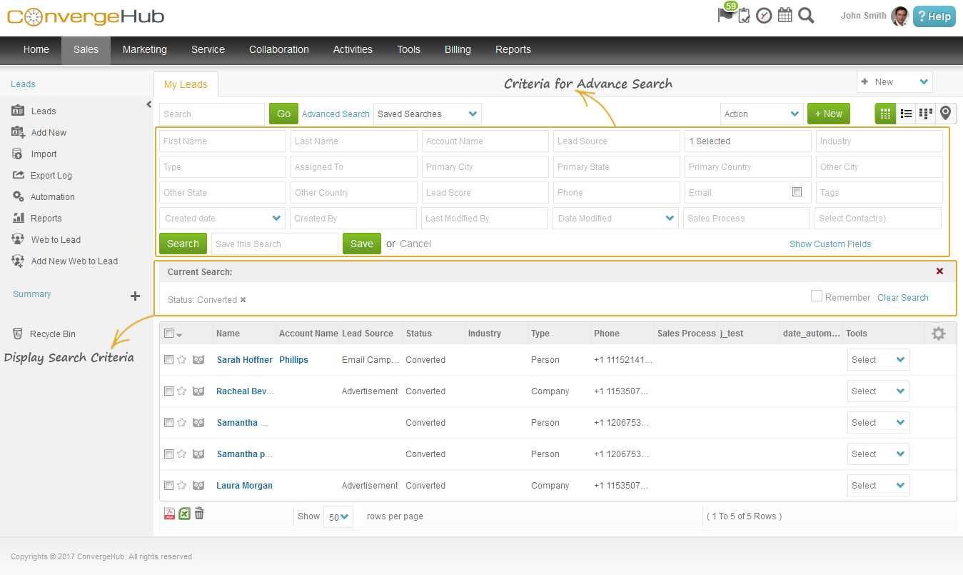 Advance Search ConvergeHub CRM