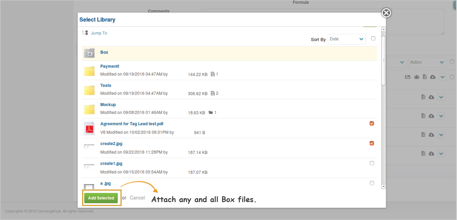Box files and documents to contacts, sales leads, projects, support cases, and more in ConvergeHub