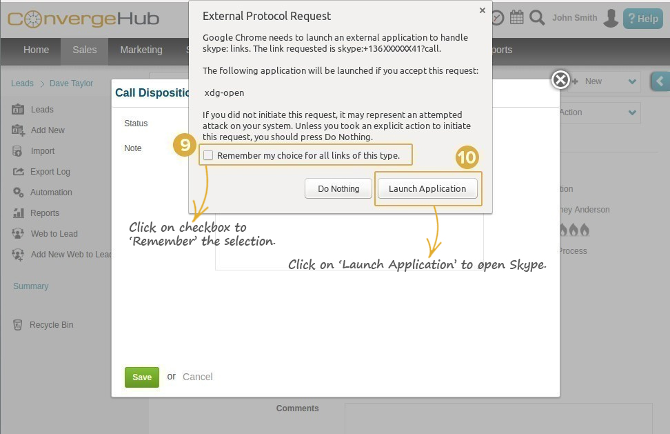 Skype Integration with ConvergeHub CRM Step 9