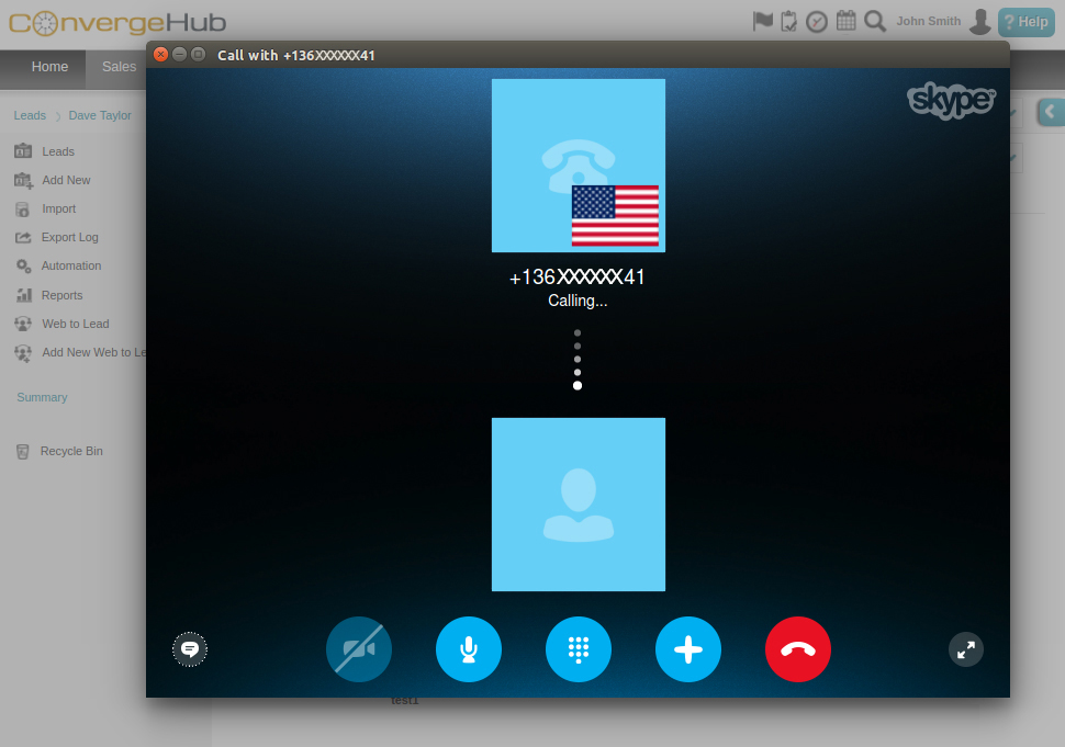 Skype Call Through ConvergeHub CRM