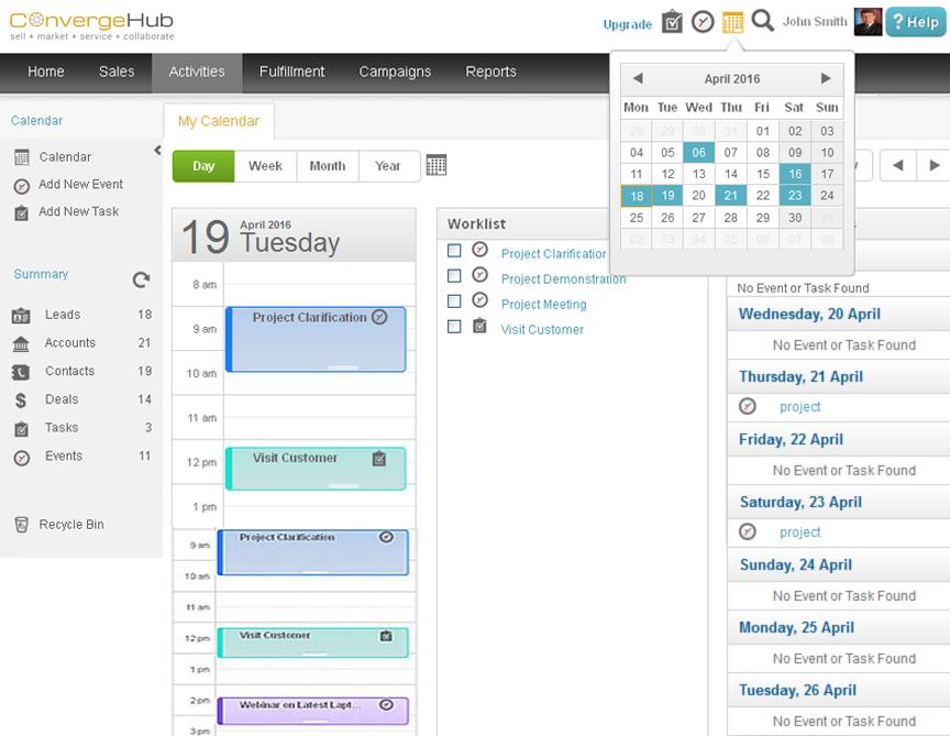 Calendar in ConvergeHub